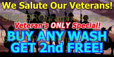wm 01-CW042 Veterans Day Car Wash Buy One Get One Free 192x384r