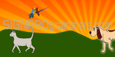 14-002 Pet Parade dogs cats birds 192×384