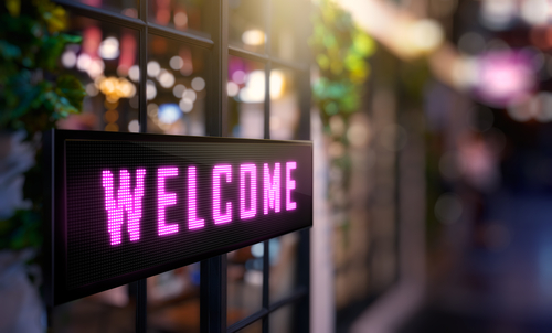 Welcome sign content graphic