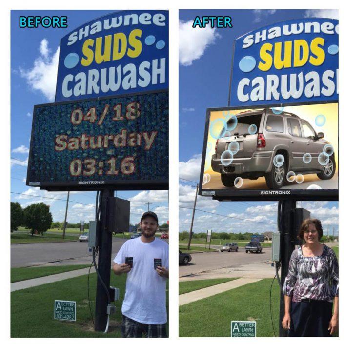 Shawnee Suds Car Wash Digital Sign